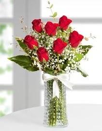 Cam vazoda 7 adet kırmızı gül  Bolu çiçek , çiçekçi , çiçekçilik