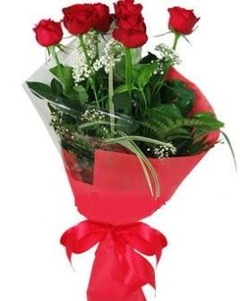 5 adet kırmızı gülden buket  Bolu kaliteli taze ve ucuz çiçekler