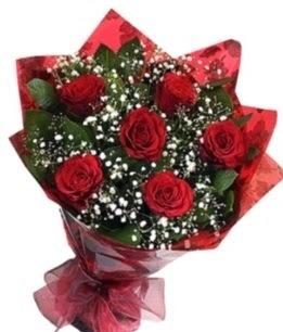 6 adet kırmızı gülden buket  Bolu yurtiçi ve yurtdışı çiçek siparişi
