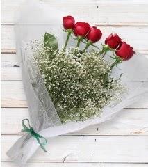 5 kırmızı gülden sade buket  Bolu çiçek yolla