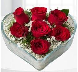 Kalp içerisinde 7 adet kırmızı gül  Bolu çiçek servisi , çiçekçi adresleri