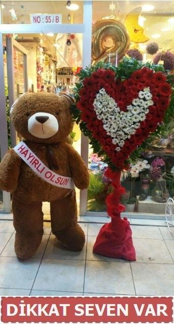 1.5 Metre peluş ayı ve Kalp  Bolu çiçek gönderme sitemiz güvenlidir