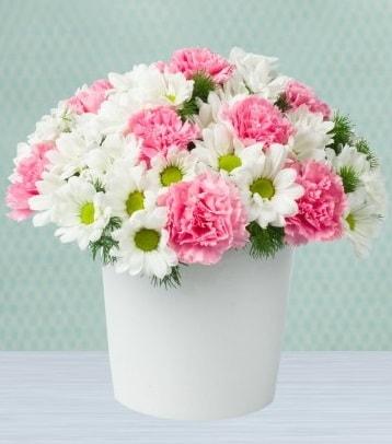 Seramik vazoda papatya ve kır çiçekleri  Bolu çiçek siparişi sitesi