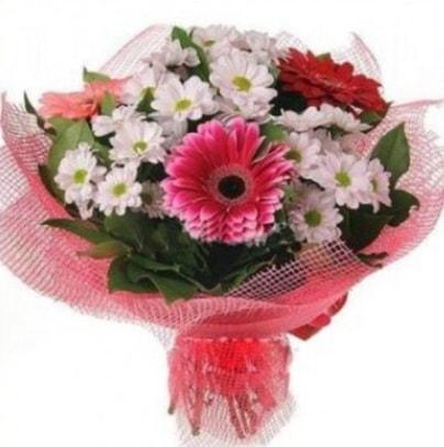 Gerbera ve kır çiçekleri buketi  Bolu internetten çiçek siparişi
