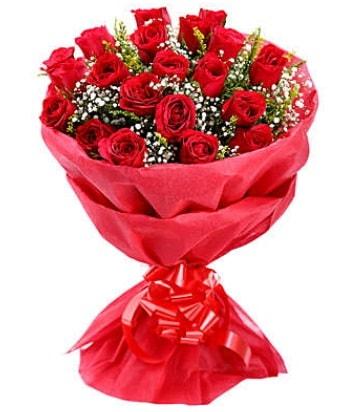21 adet kırmızı gülden modern buket  Bolu çiçek gönderme