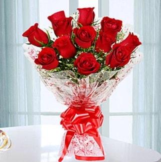 11 adet kırmızı gülden görsel şık buket  Bolu ucuz çiçek gönder