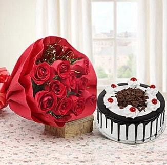 12 adet kırmızı gül 4 kişilik yaş pasta  Bolu çiçek , çiçekçi , çiçekçilik
