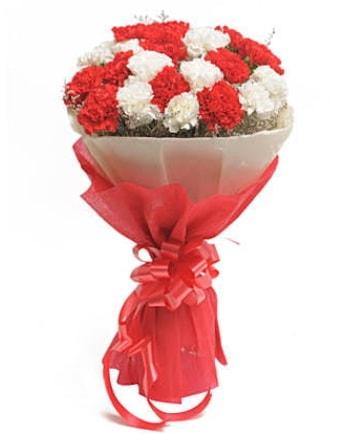 21 adet kırmızı beyaz karanfil buketi  Bolu çiçek satışı