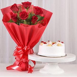 6 Kırmızı gül ve 4 kişilik yaş pasta  Bolu çiçek , çiçekçi , çiçekçilik