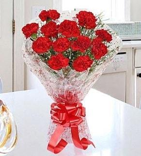 12 adet kırmızı karanfil buketi  Bolu İnternetten çiçek siparişi