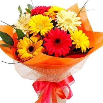 9 adet karışık gerbera buketi  Bolu çiçek , çiçekçi , çiçekçilik