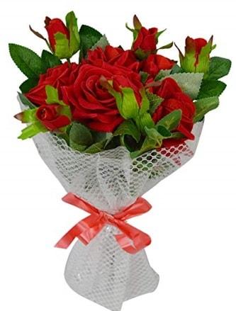 9 adet kırmızı gülden sade şık buket  Bolu çiçekçi telefonları