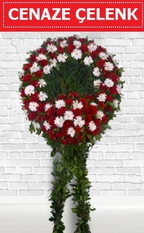 Kırmızı Beyaz Çelenk Cenaze çiçeği  Bolu İnternetten çiçek siparişi