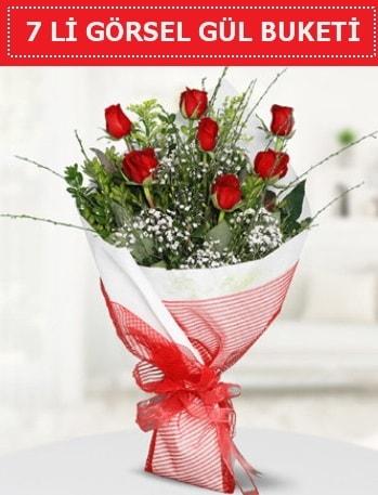 7 adet kırmızı gül buketi Aşk budur  Bolu çiçek satışı
