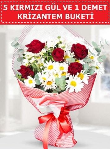 5 adet kırmızı gül ve krizantem buketi  Bolu çiçek satışı