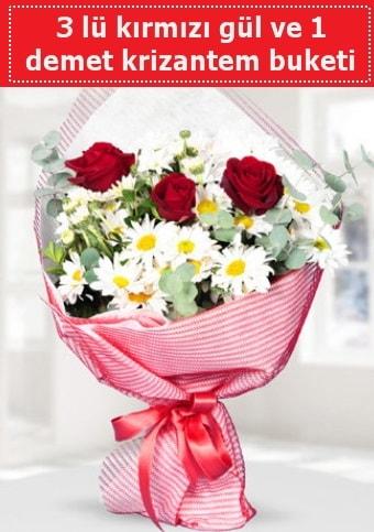 3 adet kırmızı gül ve krizantem buketi  Bolu çiçek gönderme sitemiz güvenlidir
