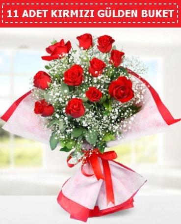 11 Adet Kırmızı Gül Buketi  Bolu internetten çiçek siparişi