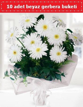 10 Adet beyaz gerbera buketi  Bolu çiçek , çiçekçi , çiçekçilik