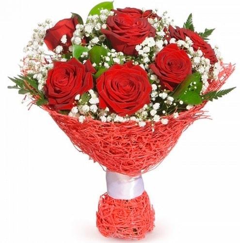 7 adet kırmızı gül buketi  Bolu çiçekçiler