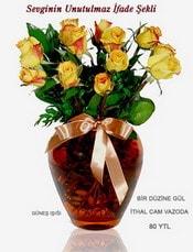 Bolu internetten çiçek satışı  mika yada Cam vazoda 12 adet sari gül